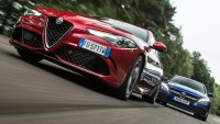 Alfa Romeo Giulia срещу BMW M3 и Mercedes-AMG C63 S - ВИДЕО