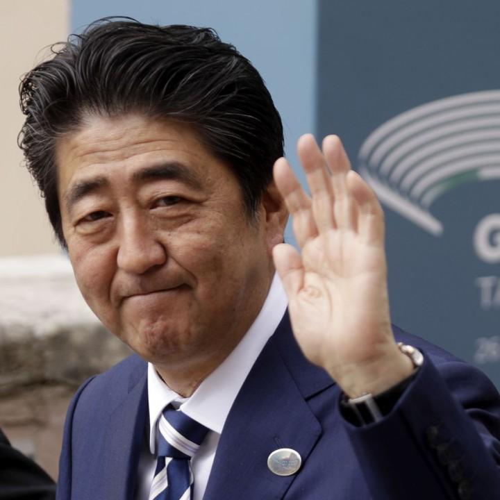 Шиндзо Абе на срещата на Г-7 в Таормина (Архивна снимка)
